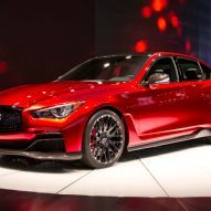 Infiniti Q50 Eau Rouge Concept Front Three Quarters 02 at the Detroit Auto Show. This is one really cool car. I want one!!!!!