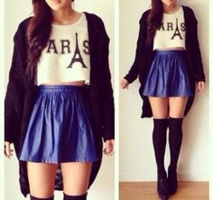 Cute outfit. Sweater, blue skirt, blouse, over the knee socks and some black heels.