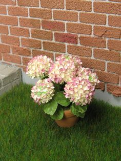 Miniature Hydrangea 1 in ivory with pink touch in 1:12 dollhouse