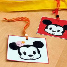 The next time your family is heading out of town, avoid luggage mix-ups by looping these cute Mickey and Minnie ID's around the handles.