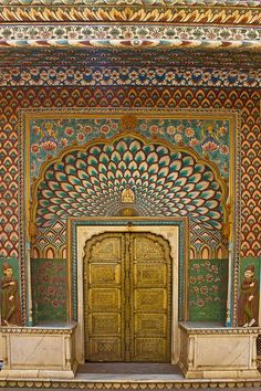 Lotus Gate - City Palace - Jaipur;  the Lotus Gate celebrates summer with hundreds of pink petals and unmistakable leaves.