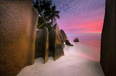 Cheri's Corner - Seychelles sand beach at sunset  by  Michael Anderson