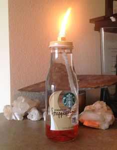 Starbucks Frappuccino Oil Lantern | #crafts #bottles #masonjars via Put it in a Jar (putitinajar.com)
