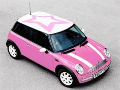 roof, mini coopers, pink cars, color, dream, future car, star, beauty, barbie