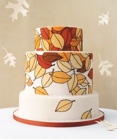 fall wedding cakes, fall leaves, autumn leaves, fall cakes, food coloring, autumn weddings, fall weddings, themed cakes, falling leaves