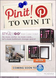 PIN IT, REPIN OR COMMENT and you could WIN a STYLE and GO Hair Care Valet before the official launch JULY 25th @6:00 am on HSN! We'll pick one lucky Pinner 7/24/2012 at 10:00 PM EST!     GET READY, GET SET...PIN!    Make sure in your description to put the hashtag #thestyleandgo    www.thestyleandgo.com    Have fun!         ONE PIN IS ALL YOU NEED!