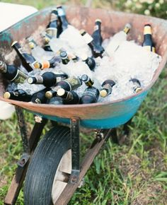 Backyard BBQ wedding drink bar ideas