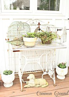 Make a Garden Table from an Old Singer Sewing Machine Bottom - Legs. Painted White. at Common Ground