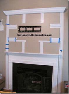 Hiding the cords for the TV above the fireplace WITHOUT drilling into the wall! Tv Cords, Decor Ideas, Trim Step, Hiding Tv, Flats Screens, Mount Tv, Trim Work, Paper Scraps, Hiding Cords