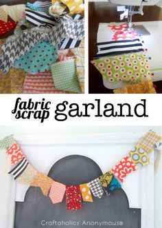 Scrap fabric garland. Great way to use up fabric scraps + it's super easy!