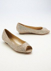 """Add a little sparkle and shine to your ensemble with these stylish peep toe low wedges!  Low wedge peep toe shoes are adorned with AB crystals.  Perfect lookfor any occasion.  Heel height: 1"""".  Fully lined. Imported."""