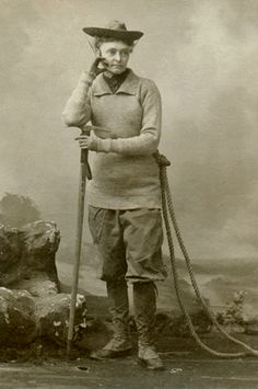 Annie Smith Peck was born in 1850. She was a woman ahead of her time: a mountaineer, adventurer, world traveler, and suffragette. Most of Annie Peck's travel and climbing was done in South America. When she climbed the 21,812 foot Peruvian peak Huascaran, she set the record for highest Western Hemisphere peak climbed by an American man or woman. In 1894 she became third woman to scale the Matterhorn, and the first to do so in pants.