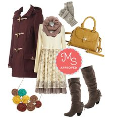 In this outfit: Propose a Party Dress, Mad about Madison Coat, Snuggled Up in Sweetness Scarf in Taupe, Saturday at the Stables Fingerless Gloves, Adventurous Acumen Bag, Playful Potpourri Necklace, Just Duet Boot in Taupe #fallfashion #autumn #layering #scarf #coat #cozy #ootd