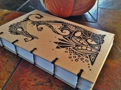 Hand bound Journal with original hand drawn design from She Who Doodles