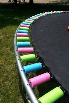 pool noodles on the trampoline!