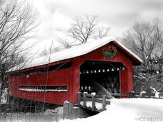 Red Cover Bridge in Winter