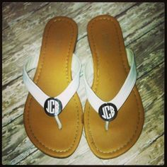 Monogrammed Sandals!  $24.99 (includes monogram).  Available at 105 West Boutique located in Abbeville, SC.  (864) 366-WEST.  Shipping $5.  Look for us on Facebook and Instagram!