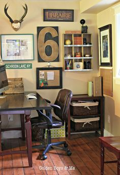Corner Desk Area ideas for Teen Boy's Room - desk is a drop leaf table from Pier One, 9 slot Wooden Wall Shelf is from Target ($50),