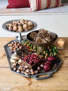 Autumn's Bounty- arrange natural elements in trays and footed bowls.  Simple and beautiful!