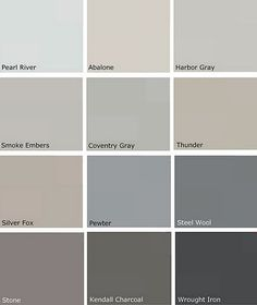 most popular gray paint colors | More Benjamin Moore choices/Pewter, Silver Fox, Thunder, Smoke Embers
