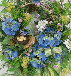 XL Exceptional Spring and Summer Door Wreath with Blue Hydrangeas by LadybugWreaths, $239.97