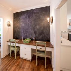 Homework station with chalkboard wall