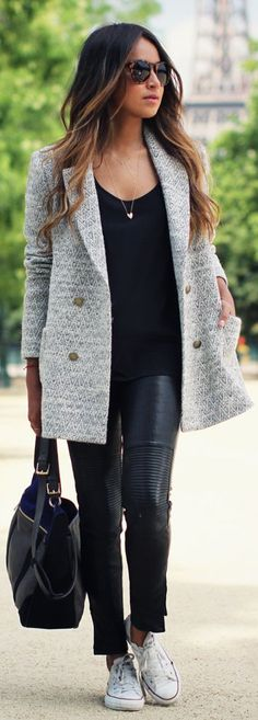 love this jacket, classi cloth, autumn outfits, converse street style, style hair, street style fashion, coats, style tag