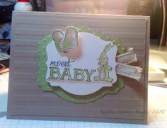 Baby We've Grown stamp set, Pear Pizzazz and Crumb Cake inks and paper. All supplies Stampin' Up!