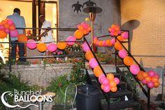 Fuchsia & Orange Outdoor Event - Rail Decorations - Bunch of Balloons