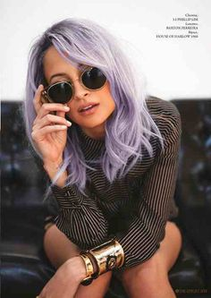 Nicole Richie with some lilac hair