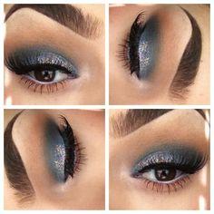 Silver eyeshadow. silver glitter, silver shadow, silver eyeshadow, eyebrow, color, blue, makeup lover, beauti, hair