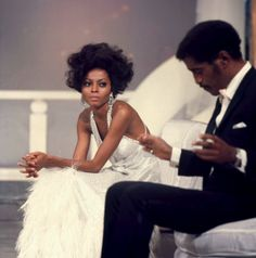 A candid photo of Diana Ross & Sammy Davis Jr. from 1968 on the set of The Hollywood Palace.