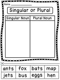Sorting nouns as being singular nouns or plural nouns