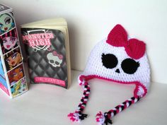 Monster High Inspired Hat, Girl Skull Beaniie, Made to Order