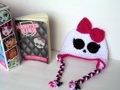 Monster High Inspired Hat, Girl Skull Beaniie, Made to Order
