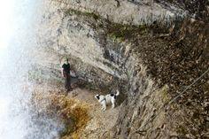 Sam und Martina konnten nur bis hinter die Wasserfall gehen.