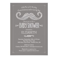 """Our trendy chalkboard mustache invitation is Perfect for a """"Oh Boy"""", """"Little Man"""" or """"Mustache Bash"""" themed baby shower!  Our cute and modern mustache invitation features a chalk drawn mustache set on a popular & chic charcoal grey gray chalkboard background.  Flip the invite over to view a matching back for a special extra touch."""