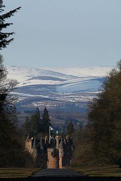 Glamis Castle through the gates - Scotland