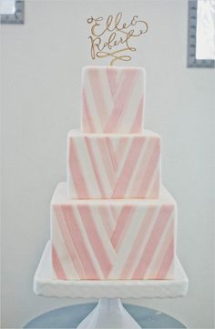 pink and white chevron wedding cake, see more here http://www.weddingchicks.com/2013/08/29/cake-toppers/