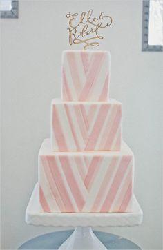 pink and white chevron wedding cake