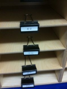 Use binder clips instead of stickers to organize shelves. | 25 Clever Classroom Tips For Elementary School Teachers.  Would be good mailbox labels for the classroom