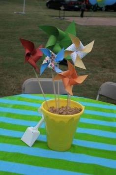 Sand bucket centerpiece!