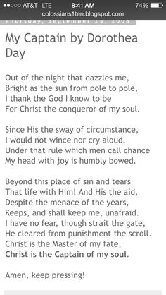 """""""My Captain"""" by Dorothea Day. The antithesis to Henley's """"Invictus."""""""