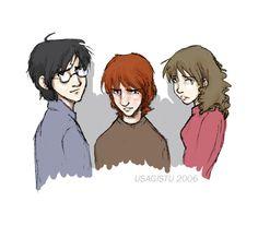 Harry Ron and Hermione by usagistu on deviantART