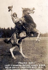 Prairie Rose Henderson, famous Cowgirl, trick rider