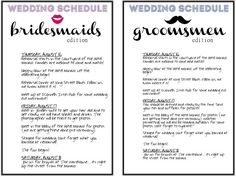 Schedules for the wedding party!