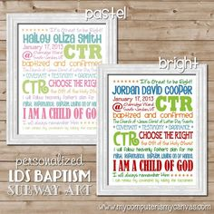 LDS Baptism Subway Art PERSONALIZED
