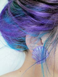 purple and blue <3 sea inspired Purple Hair, Hair Colors, Colored Hair, Mermaid Hair, Black Hair, Blue Hair, Sea, Earring, Low Lights