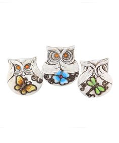 Cement Owl Stepping Stones Set by Young's
