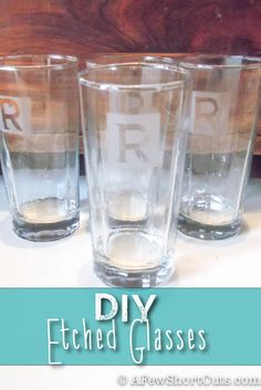 Diy Etched Glasses. Great homemade Christmas gift idea!